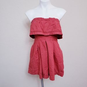 Free People Red Strapless Romper